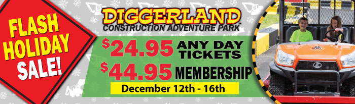 Your last chance to get the best deals of the year on Diggerland USA Any Day Tickets, Memberships, and XL Experiences!